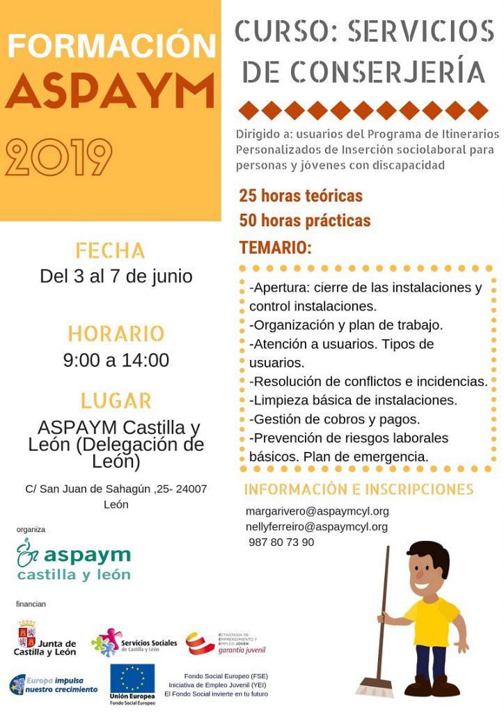 Cartel Curso Conserje León