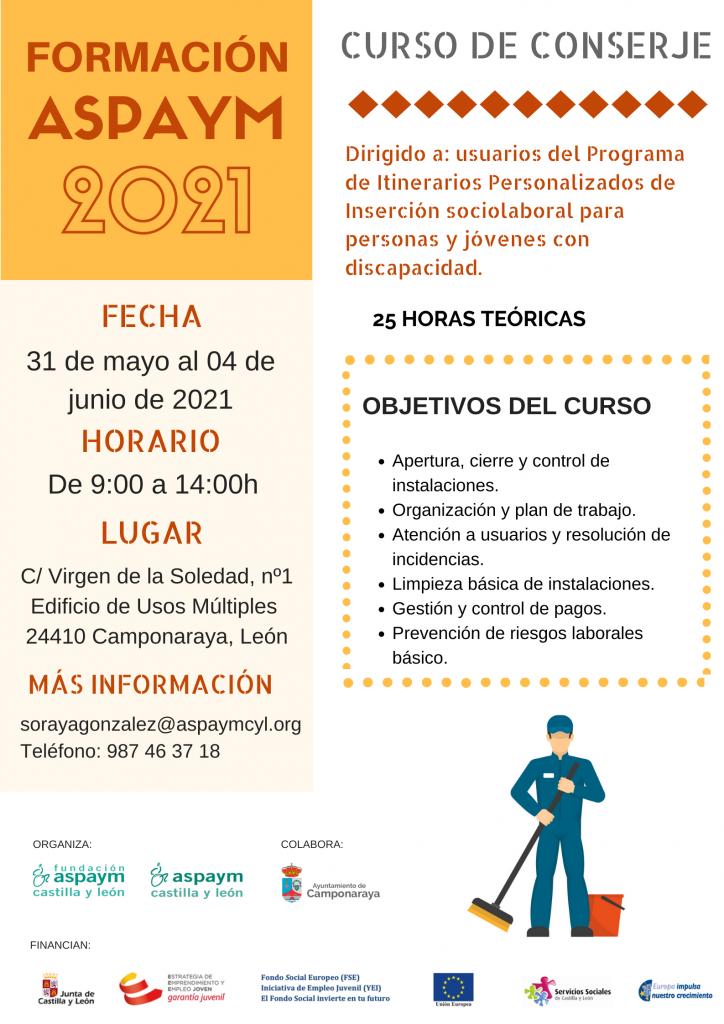 Formación ASPAYM CYL 2021 - Curso de conserje en el Bierzo