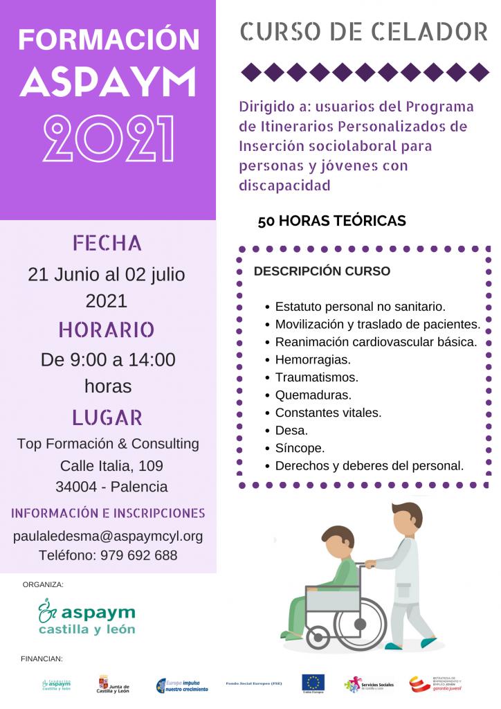 Cartelería Formación ASPAYM 2021 - Curso de Celador en Palencia