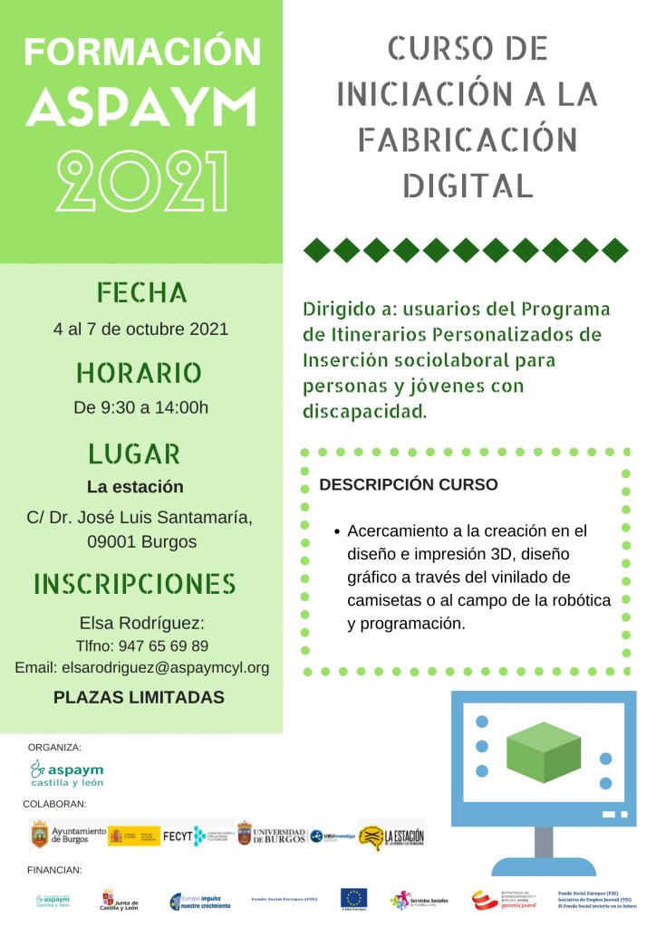 Curso de iniciación a la fabricación digital del 4 al 7 de octubre 2021.